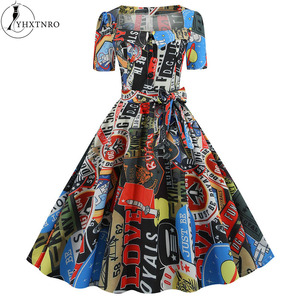 Женская одежда 2020, новое летнее платье больших размеров, винтажные платья, Элегантные Вечерние Платья с цветочным принтом Shein Jurken