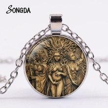 Retro Luna Triple collar de la diosa de Pentagram Wicca Árbol de la vida de vidrio collar de cadena larga de Amuleto mágico protección de