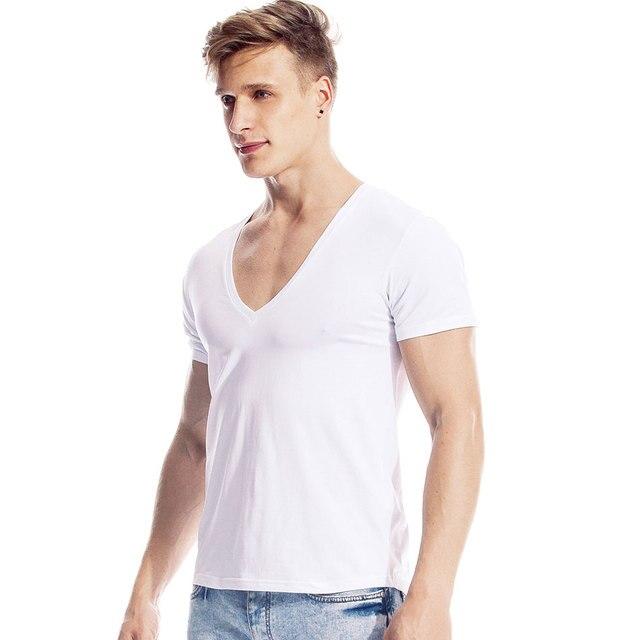 Profundo decote em v tshirt para homens baixo corte vneck grande vee topo t masculino modal gota cauda fino ajuste manga curta camiseta invisível