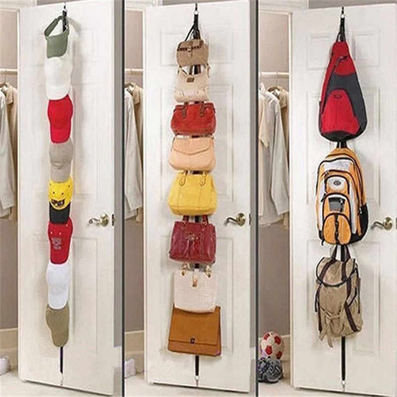 Over Door Straps Hanger 8 Hooks Adjustable Hat Bag Clothes Coat Rack Organizer