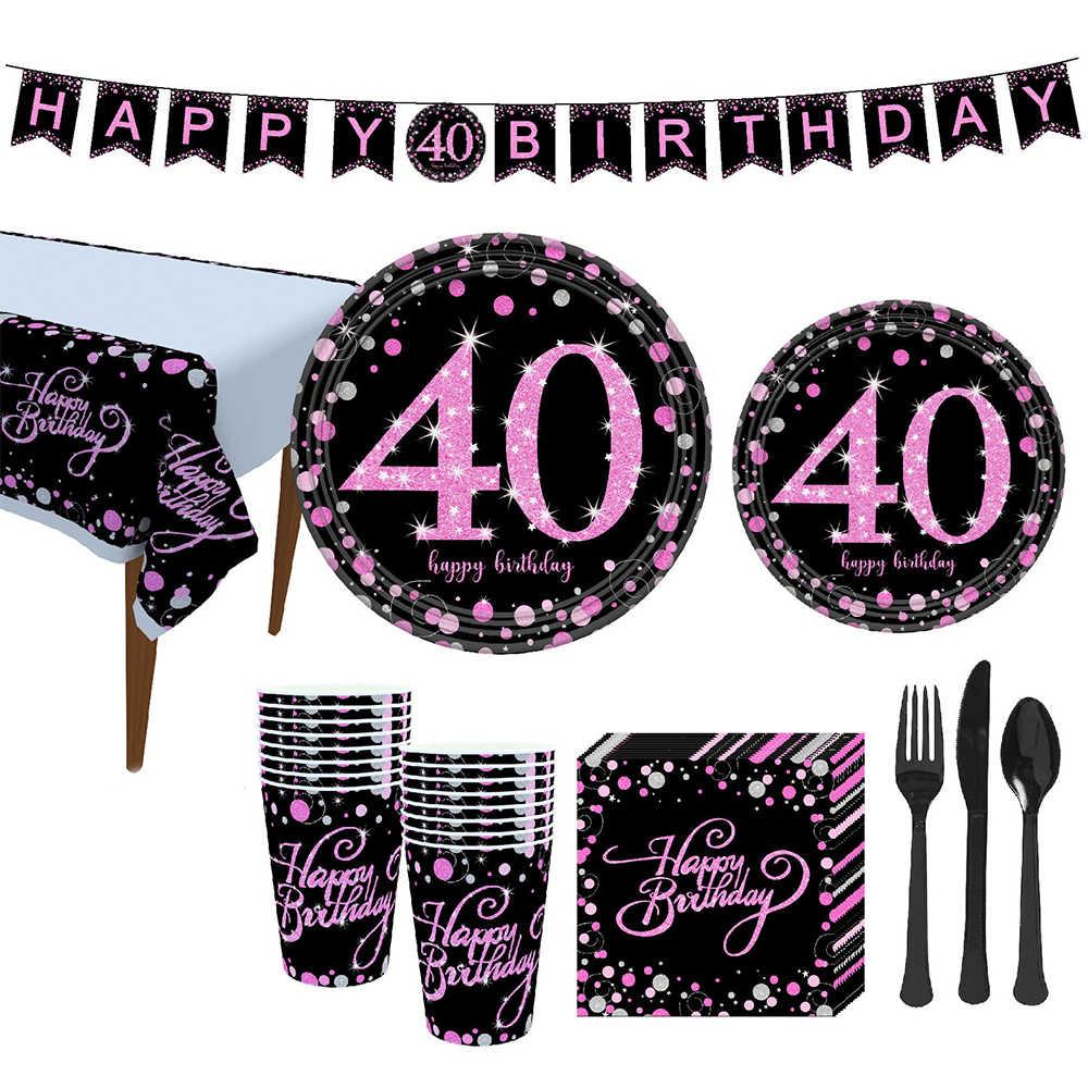 YORIWOO 21 40 50 30 doğum günü partisi süslemeleri yetişkin mutlu doğum günü Banner kek Topper altın siyah tek kullanımlık parti sofra