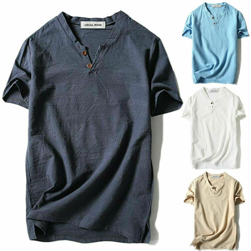 Summer Men's Casual Baggy Short Sleeve Slim Muscle Cotton Line V-Neck Button-Front T-shirt Solid Color Tops