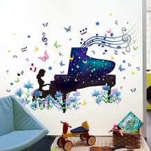 [shijuekongjian] Piano Girl Papillon Wall Stickers DIY Cartoon Mural Decals for Music Classroom Bedroom Living Room Decoration