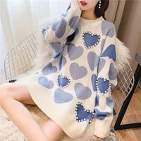Casual Faux Mink Cashmere Sweater Print Autumn Pullover Women Beaded Love Heart Jacquard Knitted Jumper