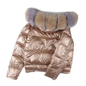 Image 4 - Nosić po obu stronach damska kurtka puchowa moda luźna lamówka nieregularne błyszczące kurtki typu Parka kobieta z kapturem ciepłe damskie kurtki zimowe