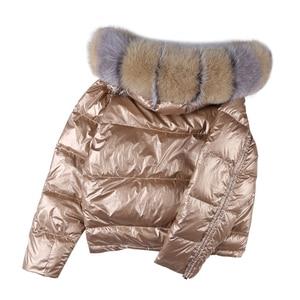 Image 4 - Wear On Both Sides WomenS Down Jacket Fashion Loose Hem Irregular Glossy Parka Coats Female Hooded Warm Ladies Winter Jackets