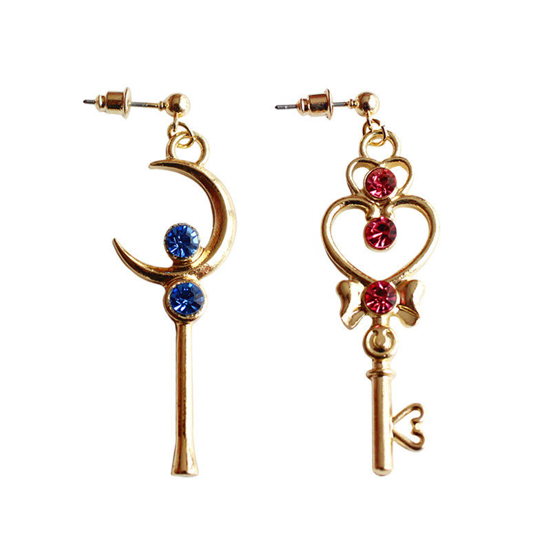 Anime Sailor Moon Time Key Moon Stick Earrings Cosplay Accessories Prop