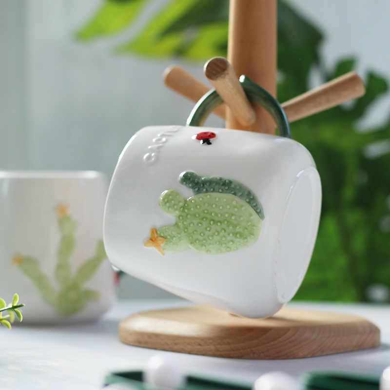 Caneca de chá chinesa criativa 3d, 470ml desenho animado nórdico cacto criativo caneca de cerâmica com tampa colher copo de café bonito vidro café da manhã leite