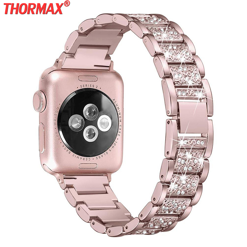 Bling Bands Compatible Apple Watch Band 38mm 40mm Metal Replacement Wristband Compatible Iwatch Series 5 4 3 2 Rose Gold Dress I Watchbands Aliexpress