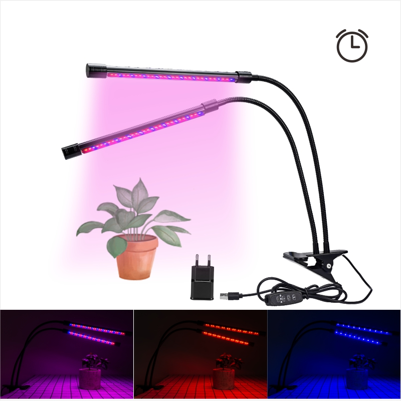 Full Spectrum LED Desktop Phyto Lamp 85-265V Dimmable Grow Light Dual Flexible Tube EU US Plug For Plant Flower Hydroponic Seed
