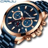 CRRJU nowa moda ze stali nierdzewnej męskie zegarki Top marka luksusowe wielofunkcyjny chronograf kwarcowy zegarek Relogio Masculino