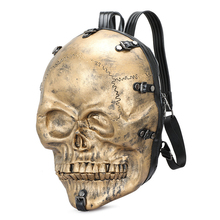 Large-Capacity Geek Backpack Outdoor Travel Funny Bag Gold Silver Color Halloween Skull  PU Unisex