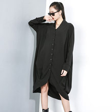 Women Autumn New Long Sleeve V-neck Loose Black Shirt Female Streetwear Hip Hop Gothic Oversized Long Style Shirt Dress Blouse(China)