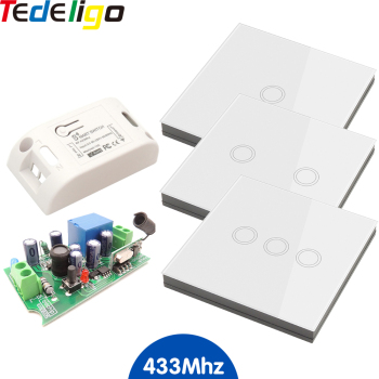 Smart Home Wireless Touch Switch 433MHz Remote Control Receiver AC 90-250V 10A 1Ch Module 1/2/3 Gang Wall Switch For Light Lamp недорого