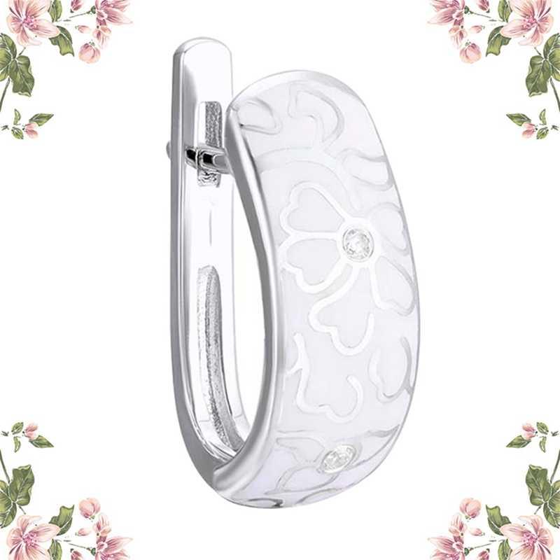 Pribadi Retro Keramik Buatan Tangan Anting-Anting untuk Wanita Nasional Angin Bunga Putih Imitasi Porselen Stud Anting-Anting Perhiasan