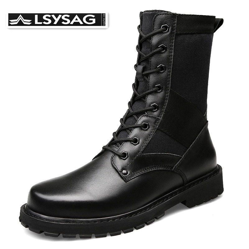 Men's Military Boot Combat Mens Leather Boots Infantry Tactical Boots <font><b>Askeri</b></font> <font><b>Bot</b></font> Army <font><b>Bots</b></font> <font><b>Erkek</b></font> Ayakkabi Motocycle Boots image