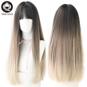 Image 1 - 7JHH WIGS Noble Light Brown Black Wigs For Women Long Remy Hair With Bangs For Girl Omber Brown Green Purple Wigs Wholesale