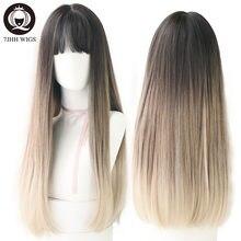 7JHH – perruques Remy à frange pour femmes, cheveux longs, brun clair, noir, ombré, vert, violet, vente en gros
