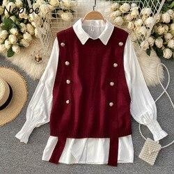 Neploe Autumn Winter Korean 2 Pcs Women Set Turn Down Collar Long Sleeve Single Breast Blouse + Sleeveless Knit Vest Loose Suit