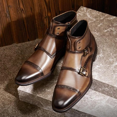 Men Leather Shoes High Heel Casual Oxford Shoes Dress Shoes Brogue Shoes Winter Ankle Boots Vintage Classic Male Casual  D373