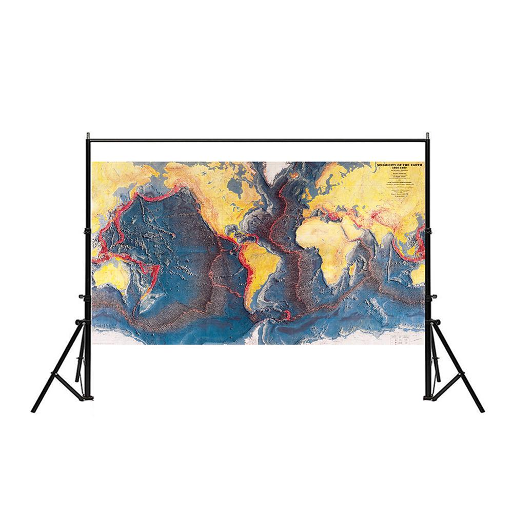 150x225cm Non-woven Map Seismicity Of The Earth World Ocean Floor Panorama Of 1960-1980 For Research In Geology And Geography