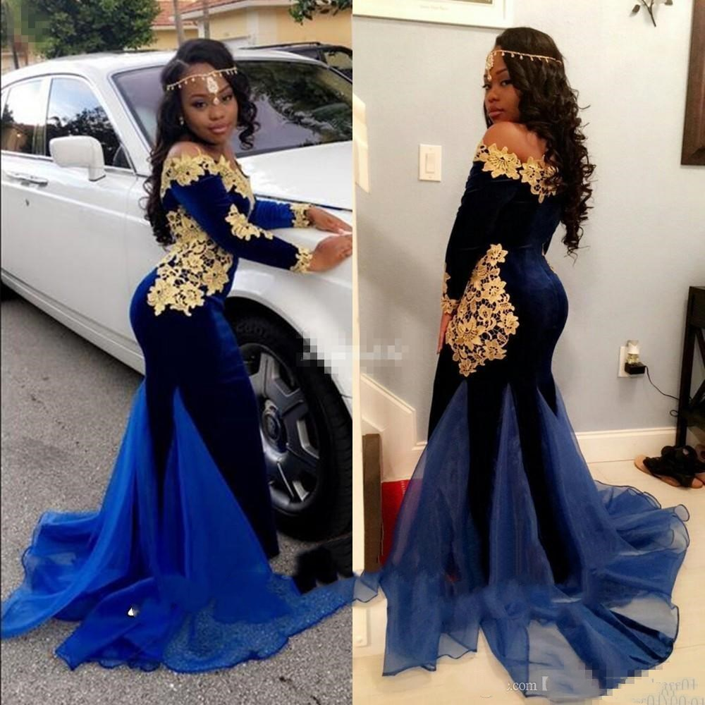 Royal Blue Mermaid Velvet Prom Dresses With Gold Lace Applique Long SleeveS Plus Size Formal Pageant Evening Gowns For Party Gir