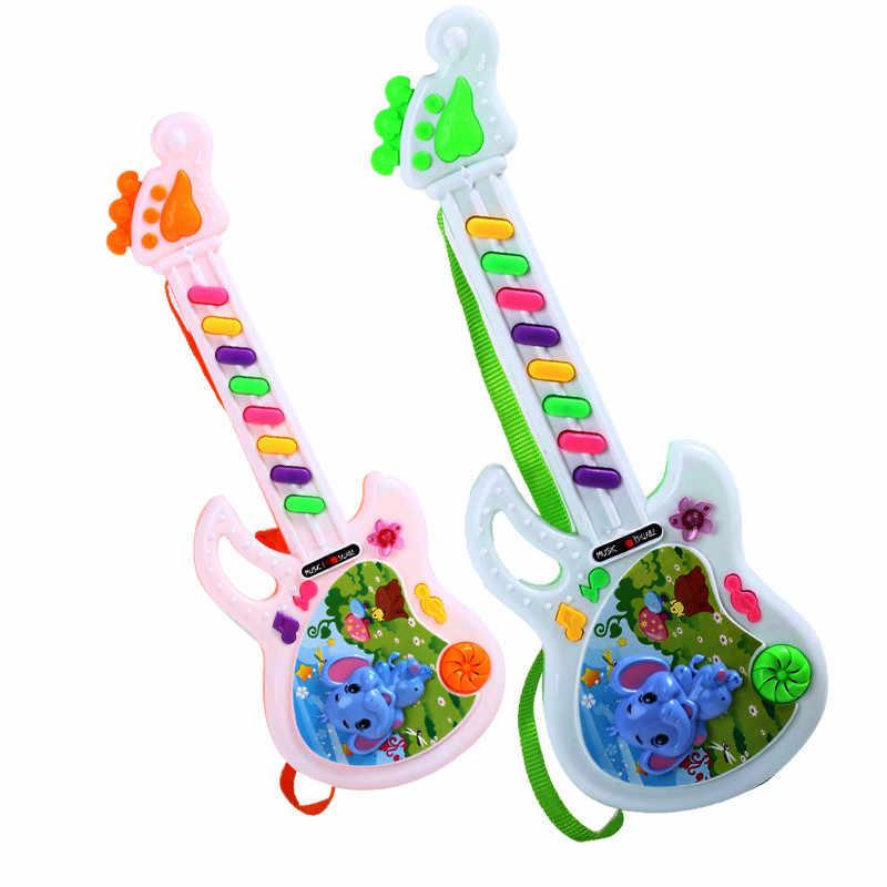 กีตาร์ไฟฟ้าของเล่นเล่นดนตรีสำหรับสาวเด็กสาวเด็กวัยหัดเดินการเรียนรู้ Electron ของเล่นพลาสติกปลอกสุ่มสีเด็กทารกน่ารักของเล่น