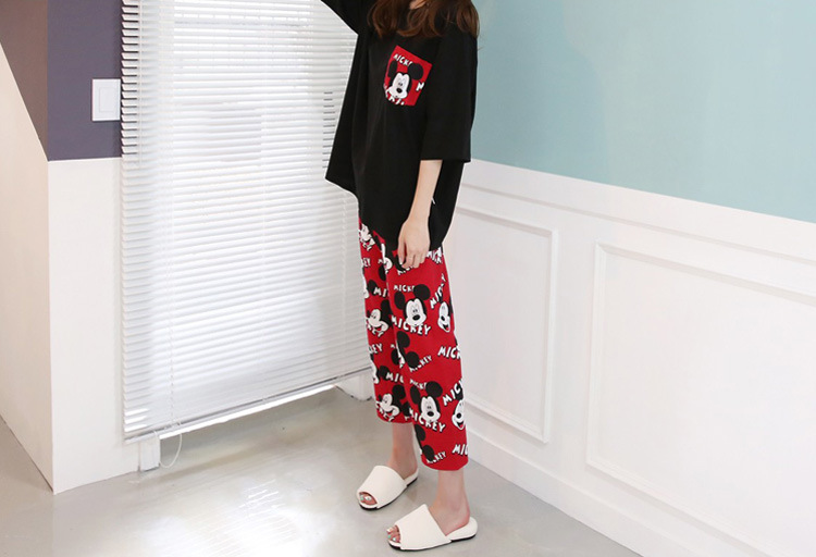 2019 Fashion Lovely Leisure Two Piece Set Mickey Printing Indoor Clothing Home Suit Sleepwear Winter Pajamas Woman Pijama Mujer 49