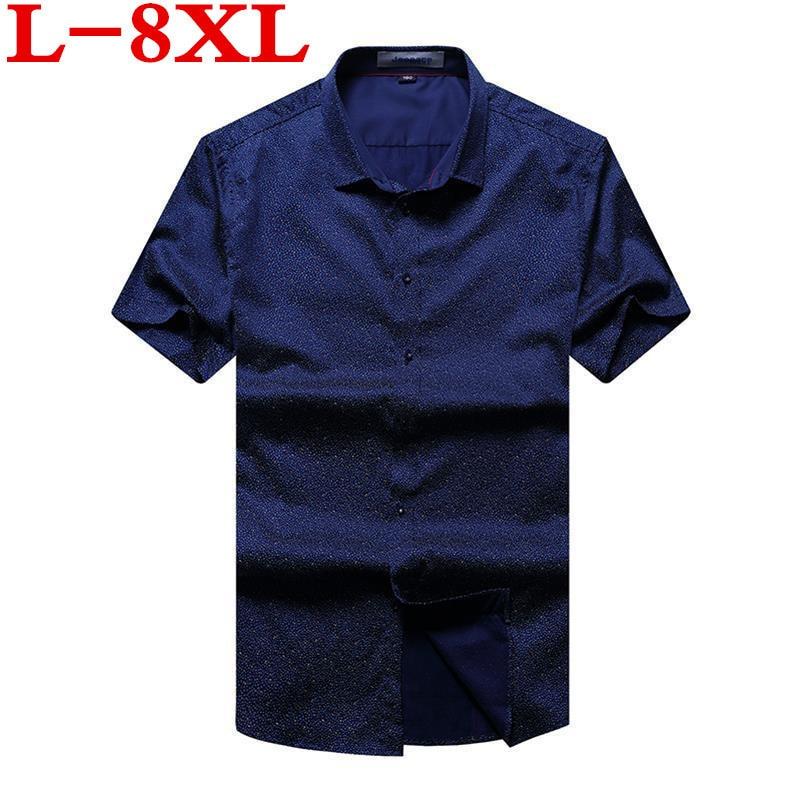 Big Size 8XL 6XL 5XL 4XL Men Casual Shirt Short Sleeve  Summer High Quality Fashion Printed Shirts Male Dress Brand Clothing