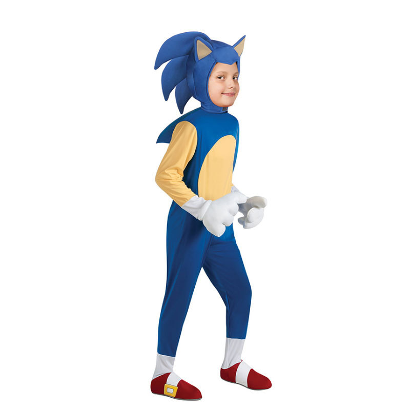 Children Halloween Cosplay Costumes Girls Boys Game Sonic Jumpsuits With Headgear Kids Carnival Party Rompers