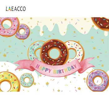 Laeacco Happy Birthday day Donuts Photography Birthday Party Background Customized Photographic Backdrops For Photo Studio laeacco happy easter day flags chick haystack brick wall home decor scene photography backdrop photo background for photo studio