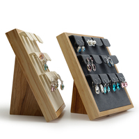 FANXI 2Pc Solid wood Earrings display stand ear stud display holder Rack with microfiber12 Seats for jewelry Exhibition Showcase