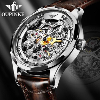 Rolexable Watch Hollow Skeleton Automatic Mechanical Genuine Leather Top Brand OUPINKE Luxury Business WristWatch Gifts For Male