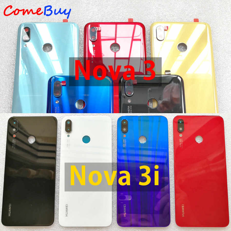 for Huawei Nova 3 Battery Cover Back Glass Rear Door Housing Case For Huawei Nova 3i Battery Cover With Camera Lens Replacement