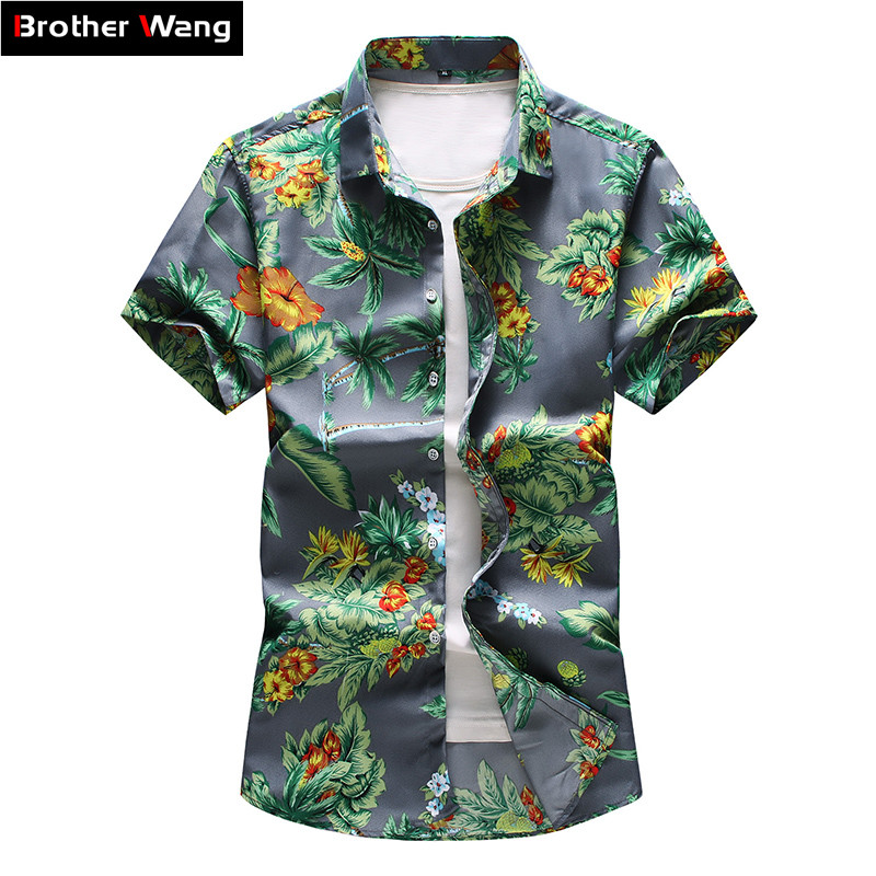 16 Color Men's Hawaiian Short Sleeve Shirt 2020 Summer New Casual Printing Flower Shirt Male Brand Clothes Plus Size 5XL 6XL 7XL
