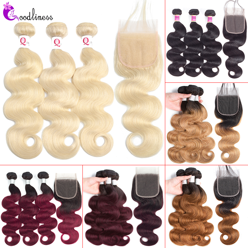 Goodliness Brazilian Hair Weave Bundles Body Wave Bundles With Closure Remy Human Hair Ombre 613 Blonde Bundles With Closure