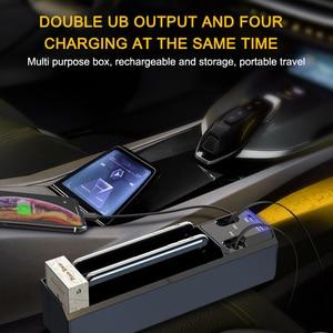 Image 3 - חדש רכב ארגונית עם מטען כבל רכב סיאט אחסון תיבת כבל עבור IOS/אנדרואיד/סוג C הכפול USB יציאת אוטומטי Stowing לסדר