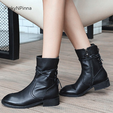women matte black ankle boots genuine leather cowhide suede Gothic inside zip low heel riding booties plus size winter shoes