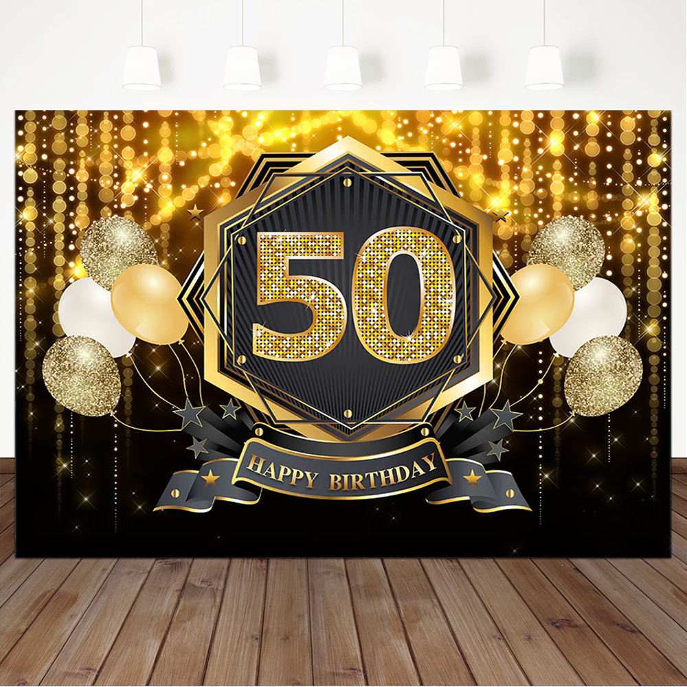 Happy 50th Birthday Backdrop Glitter Golden Bokeh Fiftieth Birthday Party Banner Backdrops Ballon Decor Photography Background Background Aliexpress