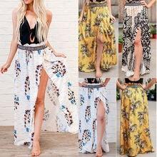 Женская винтажная юбка миди с цветочным принтом длинная разрезом