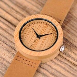 Image 3 - BOBO BIRD Round Bamboo Wooden Women Watch Fashion Ladies Quartz Wristwatch Wood Women Clock in Gift Box Custom Logo Dropshipping