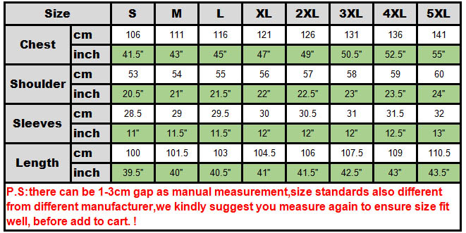 size chart gambeson