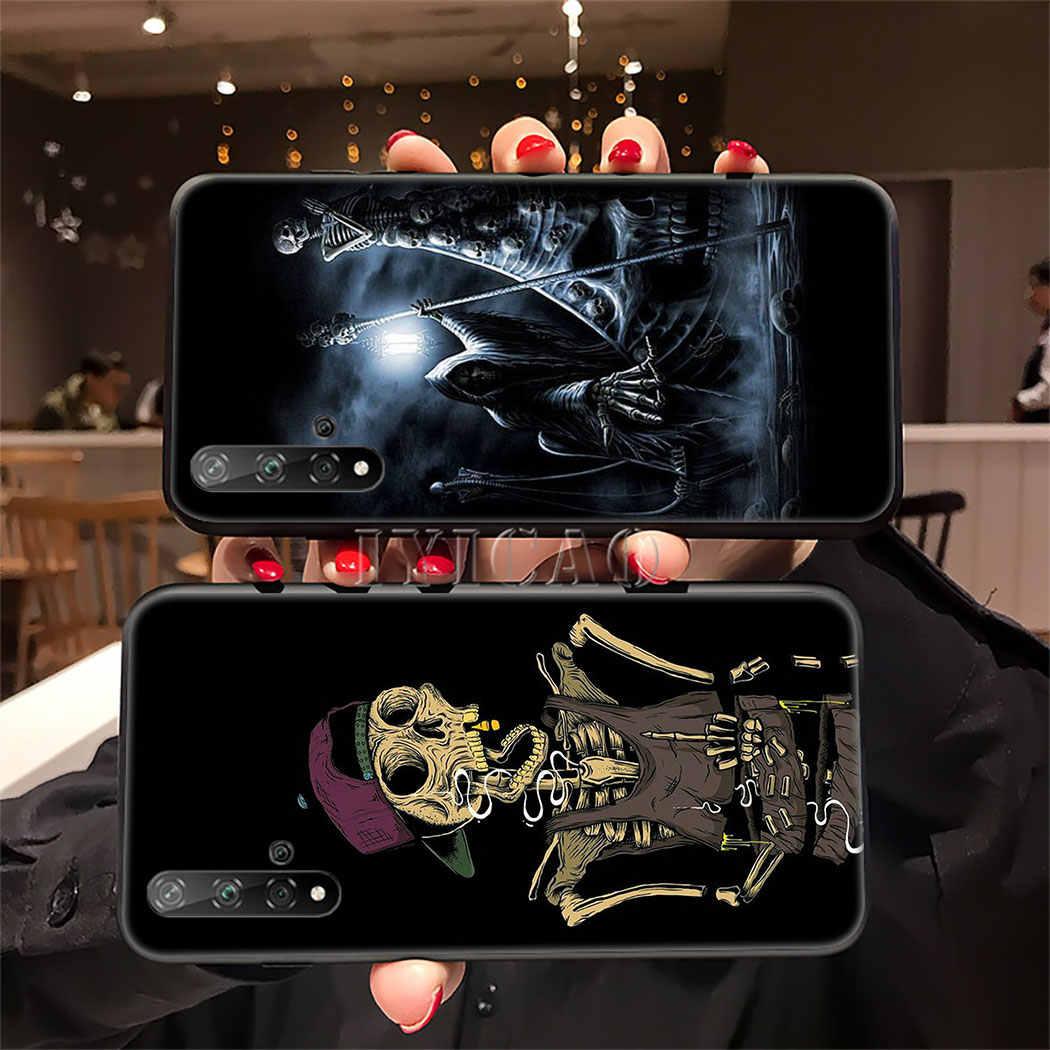 黒死神スカルソフトシリコンケース Huawei 社の名誉 9 × 20 プロ 7A 7C 7 × 8 9 10 Lite 8X 8C 注 10 ビュー 20 TPU カバー
