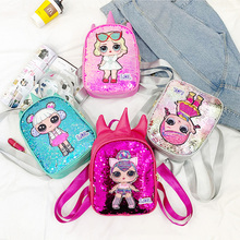 Original LOL Surprise Dolls Korean Backpack Girl Cute Fashion Trend Shoulder with Sequins Bags Birthday Gifts for Girls