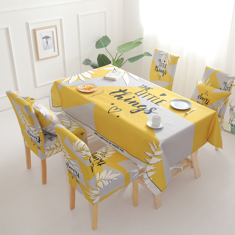 2 4 6 pcs Spandex Stretch Dining Chair Covers Anti dirty Decorative Waterproof Rectangle Tablecloths for