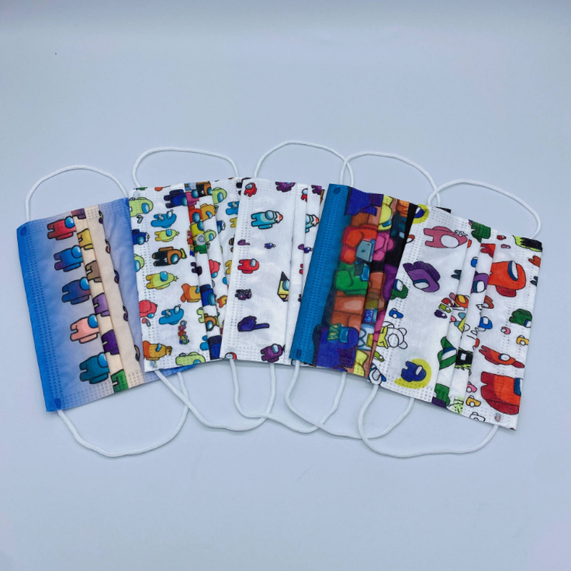 10-200pcs Mixed Disposable Face Mask 3-layer Anti-dust Masks for Kids Protective Face Mouth Mask Cute Cartoon Mascara 1
