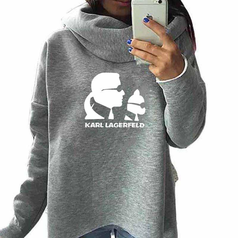 Women Sweatshirts Oversized Hoodies Karl Lagerfeld Vintage Crop Printed Casual Scarf-Collar