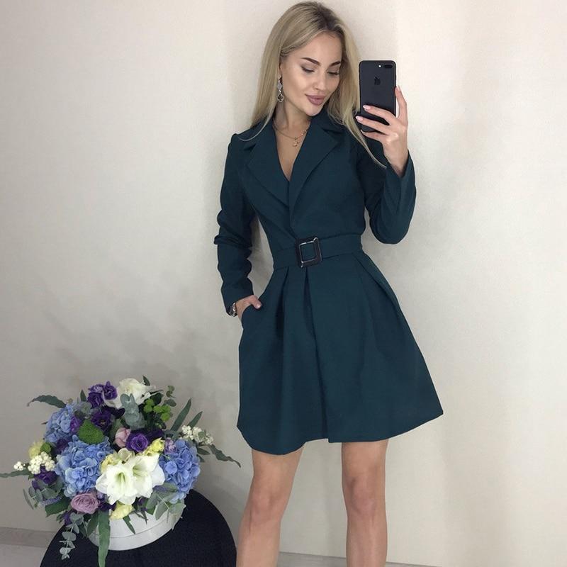 2019 Women Autumn Winter Sashes Dress Solid Turn-Down Collar Casual A Line Dress New Fashion Office Ladies Mini Short Dresses