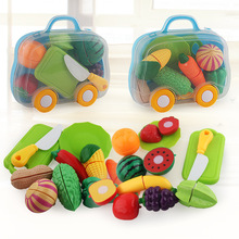New Children Kindergarten Play House Velcro Vegetable & Fruit Happy Slicer Suitcase Fun Model kids Kitchen Toy
