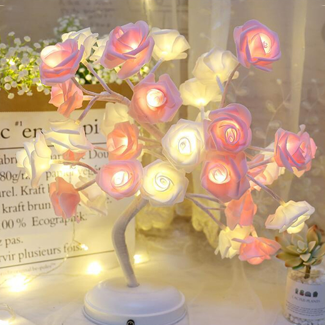 Rose flower bouquet Night Light Events Parties Rose Tree Lamp LED Garland Lights for Home Decoration table lamp 1
